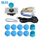 BLEE Zero Delay Arcade Game USB Encoder PC Joystick DIY Kit 5 Pin Joystick Arcade Buttons Mame Jamma (Blue) (Color: Blue)