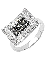 4.80 Grams Marcasite, Pearl & White Cubic Zircon .925 Sterling Silver Ring - B00XPMBJUU