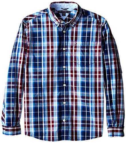 Tommy Hilfiger Big Boys' Long Sleeve Woven Greg, Crushed Berry, Medium
