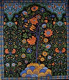 Tree of Life Tapestry-Coverlet-Wall Hang-Black-Twin