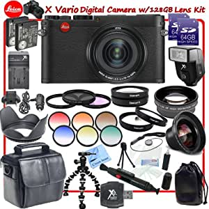 Leica X Vario Digital Camera (Black) With CS Xtreme Accessory Kit: Includes 2x Leica BP-DC8 Replacement Batteries, Rapid Travel Charger With Car Adapter & Euro Plugs, High Definition Wide Angle Lens, Telephoto HD Lens, 3 Piece Professional Filter Kit (UV, Rotating Circular Polorizer, Florescent Neutral Density), 4 Piece Macro Lens Close Up Set (Diopters +1+2+4+10), 6 Piece Graduated Color Filter Kit, Shoe Mount Slave Flash, 2x Lens Pouches, 2x High Speed Error Free 64GB SDXC Memory Cards, SD Card Reader, Luxury Compact Carrying Case, Tulip Lens Hood, Cap Keeper, Gripster Tripod, Lens Cleaning Pen, Starters Kit & CS Microfiber Cleaning Cloth