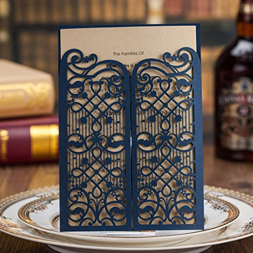 Wishmade 50x Elegant Blue Laser Cut Wedding Invitations Cards with Hollow Favors for Bridal Shower Birthday Engagement Baby Shower Graduation Cardstock Paper(set of 50pcs)CW5102