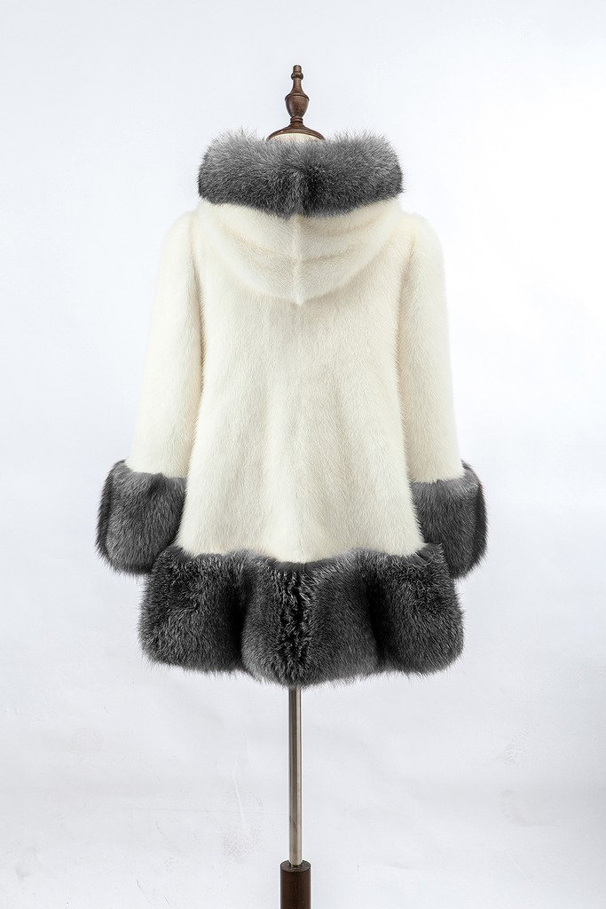Lkous Women's Vintage Style Luxury Faux Fur Coat with Hooded Collar 5