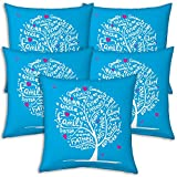 Best Festival Gifts Diwali Christmas New Year Set Of 5 Blue Family Tree Printed Polyester 12X12 Cushions Home...