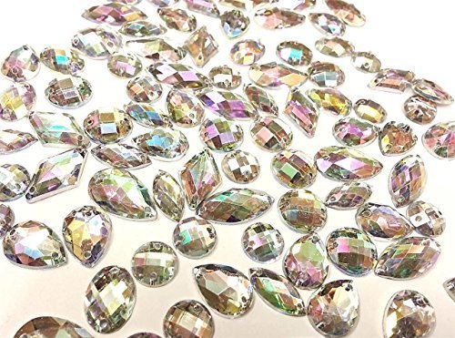 CraftbuddyUS 80 Ab Clear Faceted Acrylic Sew On, Stick on Diamante Crystal Rhinestone Gems (Sew On Clear Rhinestones compare prices)