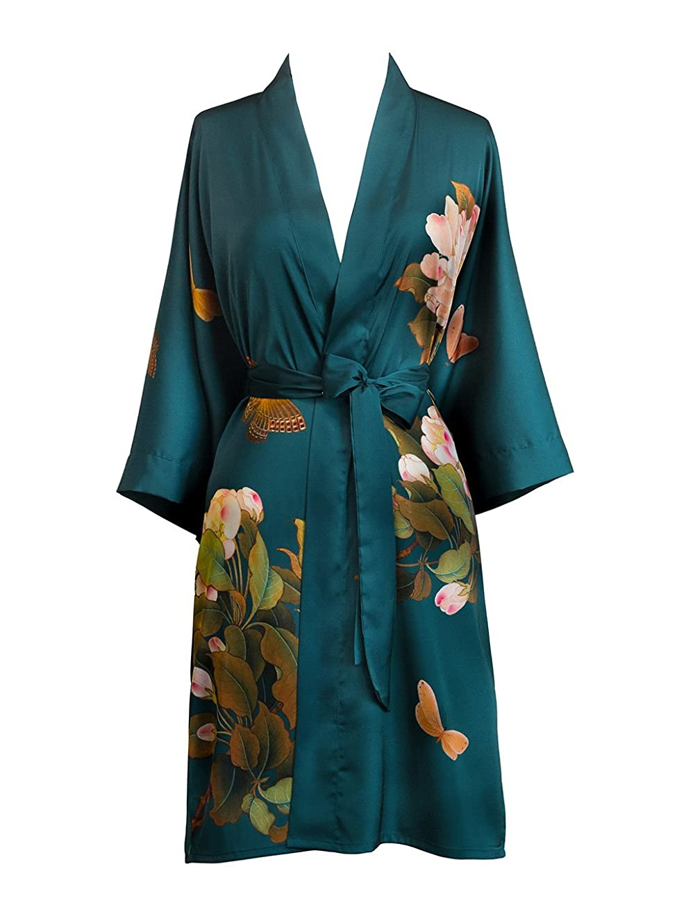 Old Shanghai Women's Kimono Robe Short - Watercolor Floral 0