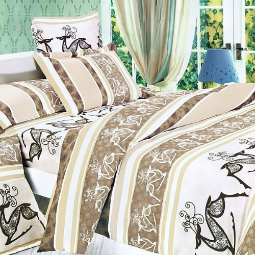 Blancho Bedding - [Beige Deer Totem] Luxury 5PC Bed In A Bag Combo 300GSM (Twin Size)