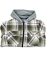 North 15 Men's Hooded Flannel Shirt - Polar Fleece Lining - Zipper Front