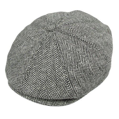 Jaxon Herringbone Newsboy Cap Grey, Large