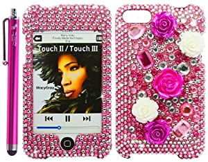The Friendly Swede (TM) Premium 3D Diamond Pearl Flower Bling Case Pink for Apple iPod Touch 2nd and 3rd Gen - Stylus Pen + Removal Tool - In Retail Packaging