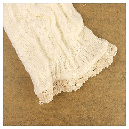 4 Colors Lady's Crochet Knitted Lace Trim Boot Cuffs Toppers Leg Warmers Socks Color:White