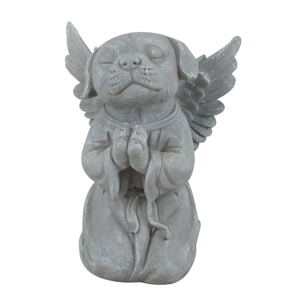 """Comfy Hour 8"""" Polyresin Praying Dog Angel Pet Statue, Handmade Light Gray, Stone Looking, For Your Home Or Garden"""
