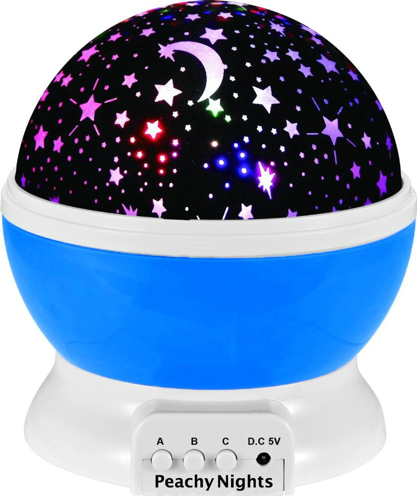 Constellation Night Light Projector Lamp from Peachy Nights offers 4 Bright Colors with 360 Degree Moon Star Projection and Rotation, Easy to Use, Baby Gift, Make Bedtime Fun For Children! (Blue)