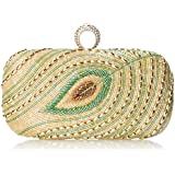 MG Collection Iliana Beaded Peacock Feather Evening Clutch
