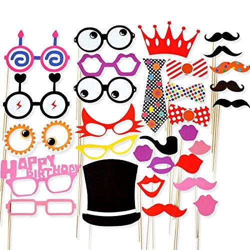 31Pcs Colorée et Expressive Accessoires pour Photobooth avec Bâton Déguisement Masque Moustache Lunettes Chapeaux Lèvre Lunettes Cravate pour