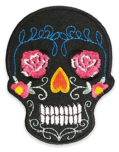 Mexican Sugar Skull Tattoo Flowers Psychobilly Day of the Dead Embroidered Iron on Patch Badge