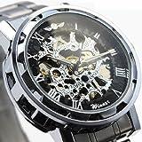 ・メンズ 機械式腕時計 ギミックの効いた仕上がり!フルスケルトン自動巻き腕時計 シルバー