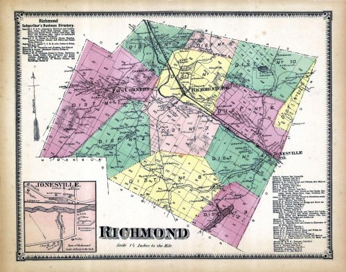 Richmond, Jonesville, Chittenden County 1869, Vermont, 1869 Old Map Reproduction