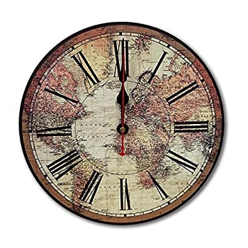 iCasso World Map Vintage French Country Tuscan Style Non-Ticking Silent Wood Wall Clock (12 inch World Map)