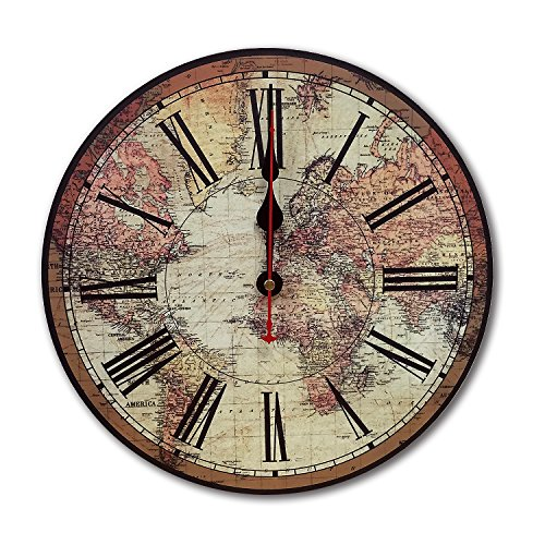 iCasso World Map Vintage French Country Tuscan Style Non-Ticking Silent Wood Wall Clock (12 inch World Map) 0