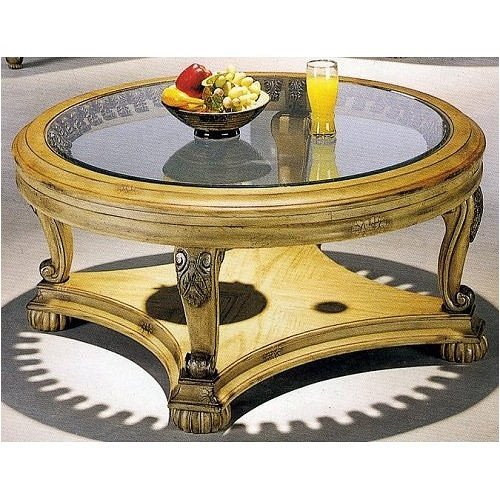 Buy Low Price Antique Bone Finish Round Coffee Table W