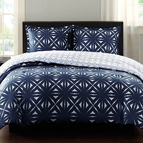 Echo Bedding Lattice Geo Reversible Comforter Mini Set, Full/Queen, Colony Blue/Black Iris