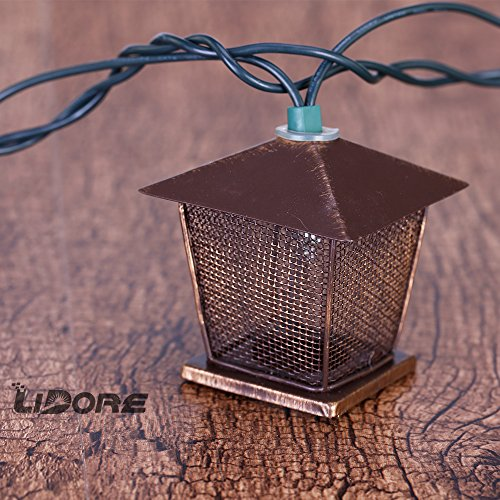 LIDORE 10 Counts Vintage Bronze Iron Nets Lanterns Plug-in String Lights. Great For Indoor/Outdoor Decoration. Best Ambience Decorative Lights. Warm White Glow. 4