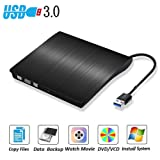 USB 3.0 External DVD Drive Zacfton Ultra Slim Portable High Speed Optical 3.0 CD DVD-RW DVD ROM Drive, External CD Burner/Writer/Rewriter for Mac, Macbook Pro, Laptop, Desktop Support Windows 8 / 10