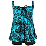 Nonwe Women's Retro Vintage Floral Printed Two Piece Plus Size Swimsuits With Shorts