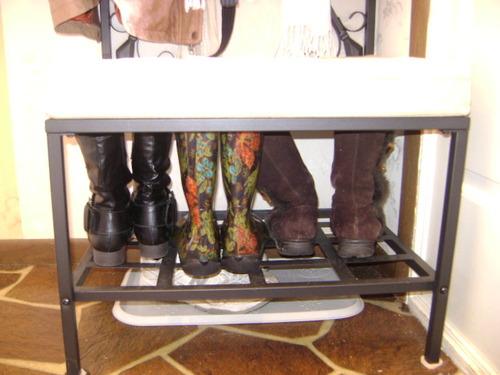 Amazon Com Sei Black Metal Entryway Storage Bench With