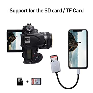 dyplay for Lightning to USB SD/TF Card Camera Reader OTG Adapter, Male to Female, for iPhone X/8 Plus/8/7 Plus/7/6s Plus/6s/6 Plus/6/5, iPad Mini/Air, No App Required (Color: Lightning to USB SD/TF Card Camera Reader, Tamaño: 5.5 inch Length)