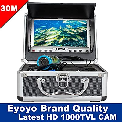 "Eyoyo Brand 30m 1000TVL HD CAM Professional Fish Finder Underwater Fishing Video Camera 7"" Color HD Monitor with Anti-Sunshine Shielf"