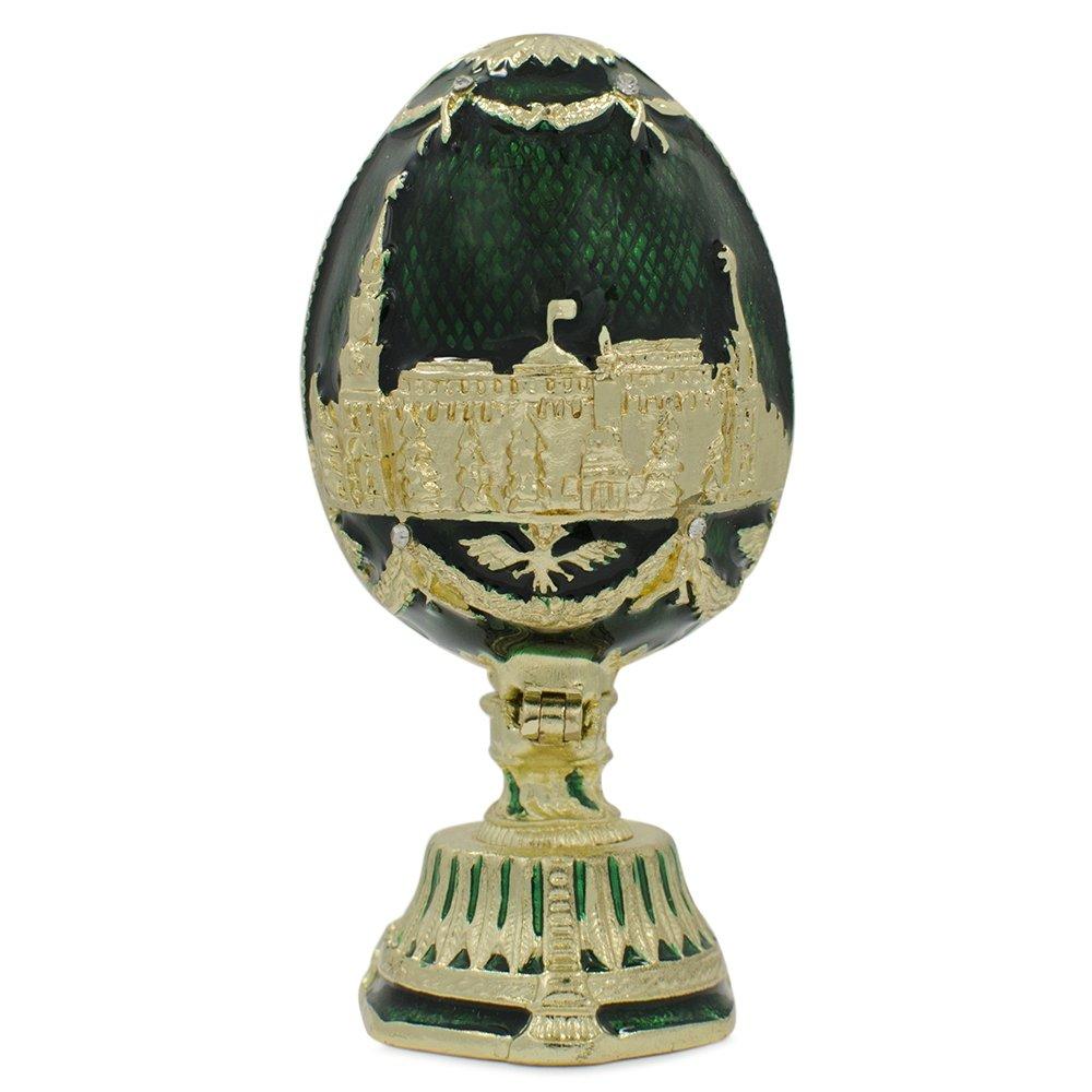 St. Petersburg Inspired Russian Egg - Enameled Jewelry Trinket Box Figurine