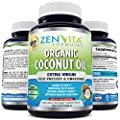 Organic Coconut Oil Capsules 1000 mg - 180 Softgels, Coconut Oil Pills Made with Certified Organic Extra Virgin Coconut Oil. Cold Pressed and Unrefined. Natural Weight Loss Support, Natural Energy Source. No Hassle 100% Money Back Guarantee by ZenVita For