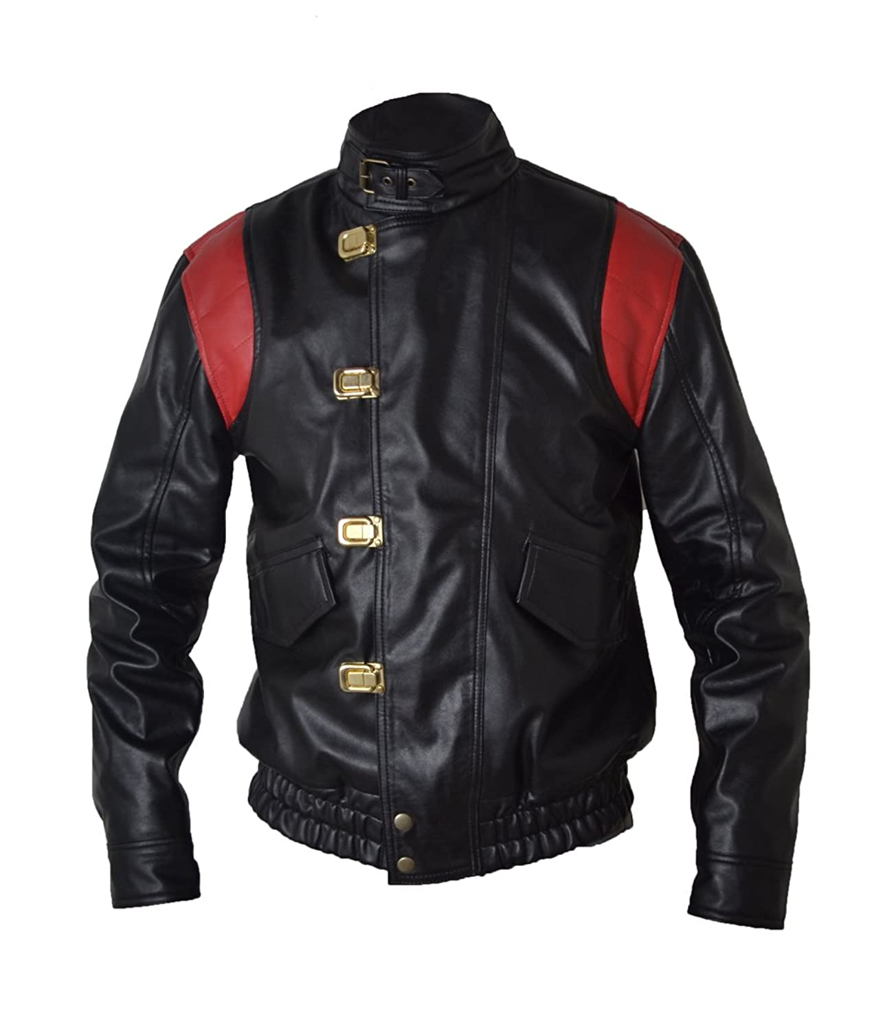 Akira Manga V4 Black with Red Stripes Real Sheep Leather Jacket With Capsule & Wordings