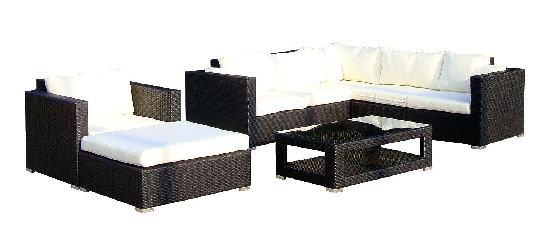 Baidani Gartenmöbel-Sets 10c00020.00001 Designer Lounge-Wohnlandschaft Sunset, Eck-Sofa, 1 Sessel, 1 Hocker, 1 Couchtisch mit Glasplatte, schwarz bestellen