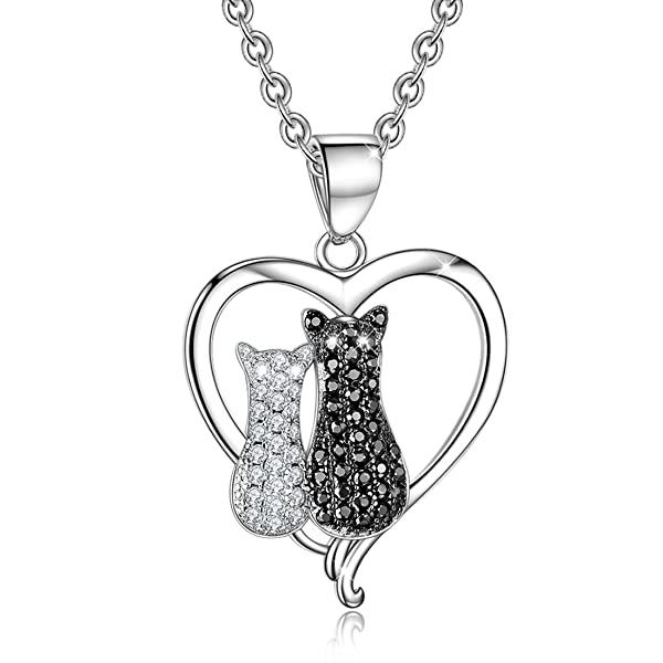 Yaxing sterling silver two tone cubic zircon couple cat pendant necklace aloadofball Choice Image