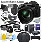 Panasonic LUMIX DMC-FZ1000 Digital Camera With CS Pro Lens Package: Includes TTL Shoe Mount Flash, High Definition Wide Angle Lens, Telephoto HD Lens, 3 Piece HD Filter Kit, 4 Piece Macro Close-Up Set, Soft Box Diffuser, Wireless Shutter Release, Tulip Lens Hood, Cap Keeper, HDMI-Micro Cable, 64GB SDXC Memory Card, SD Card Reader, Memory Card Wallet, Panasonic BLC-12 Replacement Battery, Rapid Travel Charger, Pro Carrying Case, Brush Blower, Cleaning Kit & CS Microfiber Cleaning Cloth
