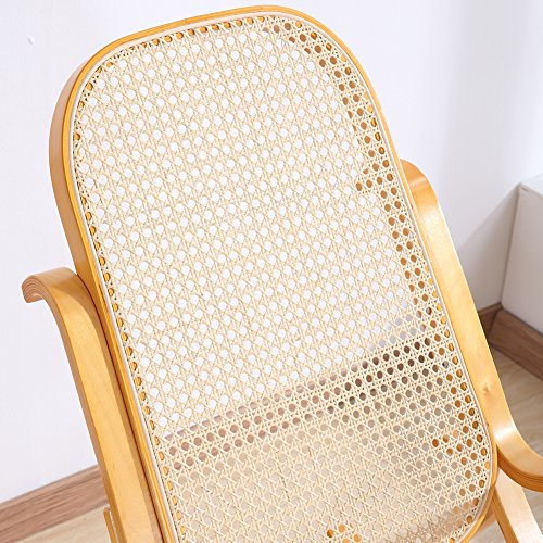 Rocking Chair Rattan Knitting Leisure Chair Vintage Living Room Furniture Conservatory Relax Bentwood Birch Easy Chair (Wood color) 5