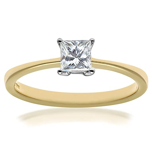 Naava 18ct Yellow Gold 4 Claw Gallery Set Engagement Ring, F/VS1 EGL Certified Diamond, Princess Cut, 0.36ct