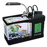 ATC Mini USB LCD Lamp Desktop Fish Tank Aquarium With LED Clock (Color: Black)
