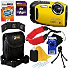 Fujifilm FinePix XP70 Waterproof & Shockproof 16 MP Wi-Fi Digital Camera with 5x Optical Zoom and Full HD 1080p Video (Yellow) + 8pc Bundle 8GB Accessory Kit w/ HeroFiber® Ultra Gentle Cleaning Cloth