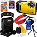 Fujifilm FinePix XP70 Waterproof & Shockproof 16 MP Wi-Fi Digital Camera with 5x Optical Zoom and Full HD 1080p Video (Yellow) + 8pc Bundle 8GB Accessory Kit w/ HeroFiber� Ultra Gentle Cleaning Cloth