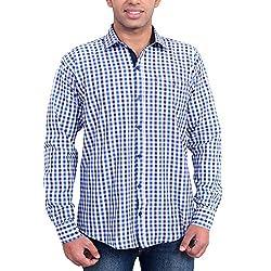 Solzo Slim Fit Blue Checks Cotton Shirt for Men(Size: 40)