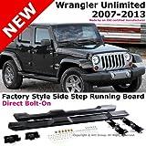 Jeep Wrangler 07-13 Unlimited 4 Door Black Running Board Side Steps Nerf Bars