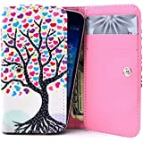 Honor 3C Case,Universal Wallet Clutch Bag Carrying Flip Leather Smartphone Case with Card Slots for Huawei Honor 3C 5.0 inch-Wishing Tree Style