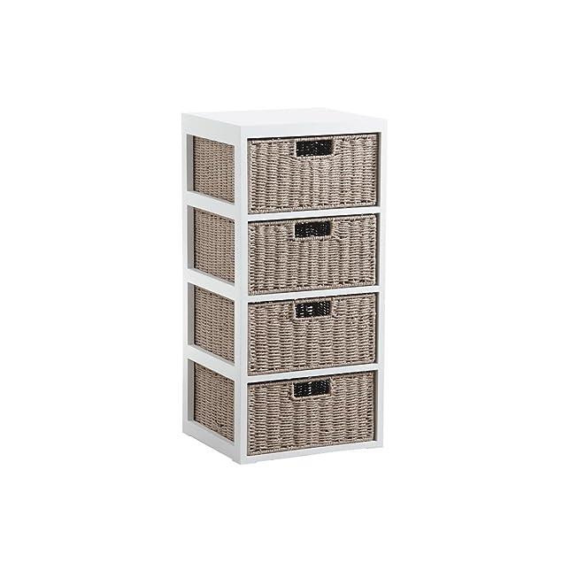 Cassettiera 4Cassetti in legno e carta corda