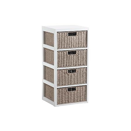 Kommode 4Schubladen Holz und Papier Aluminiumverschluss