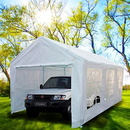 Peaktop 20'x10' Heavy Duty Portable Carport Garage Car Shelter Canopy Party Tent Sidewall with Windows White (Garage Carport compare prices)