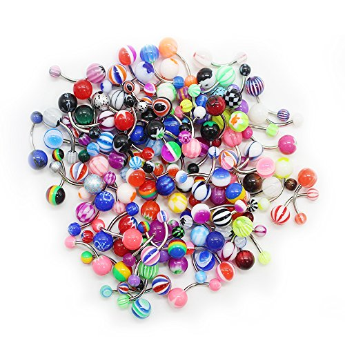 SHINEstyle Wholesale Lot of 100 14G Mixed Belly Button Navel Rings Barbells Body Piercing (Belly Button Ring And Needle compare prices)